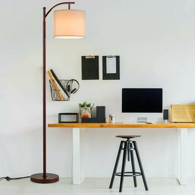 Standing Industrial Arc Light with Hanging Lamp Shade Bedroom - at´creative
