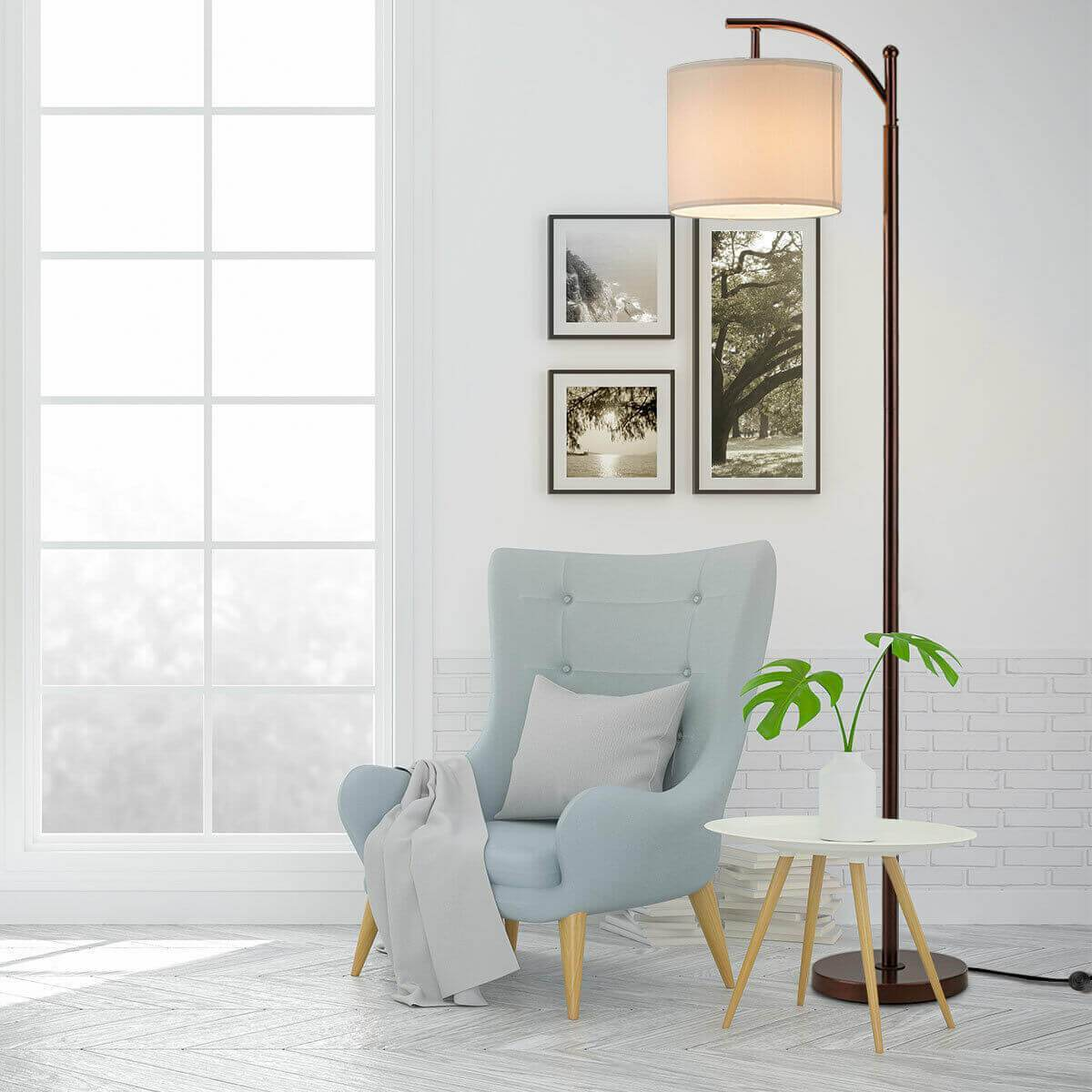 Standing Industrial Arc Light with Hanging Lamp Shade Bedroom - Atcreative