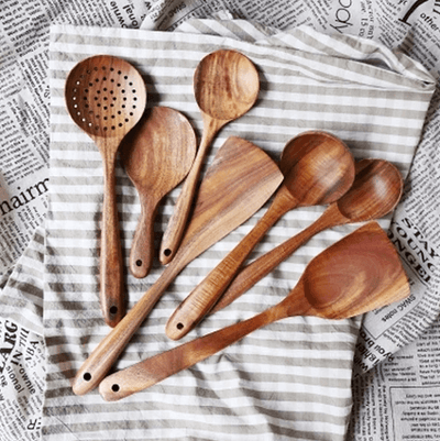 Teca - Natural Wood Tableware 7pcs / Set - Atcreative