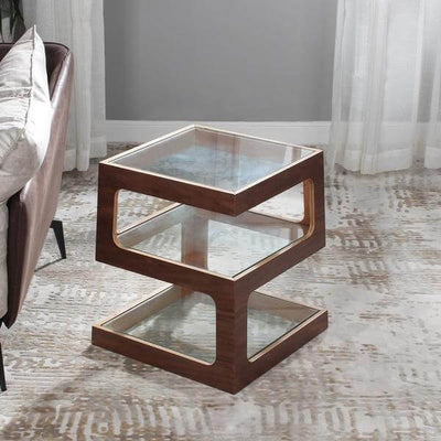 Thierry - Three Tier Walnut End Table - Atcreative