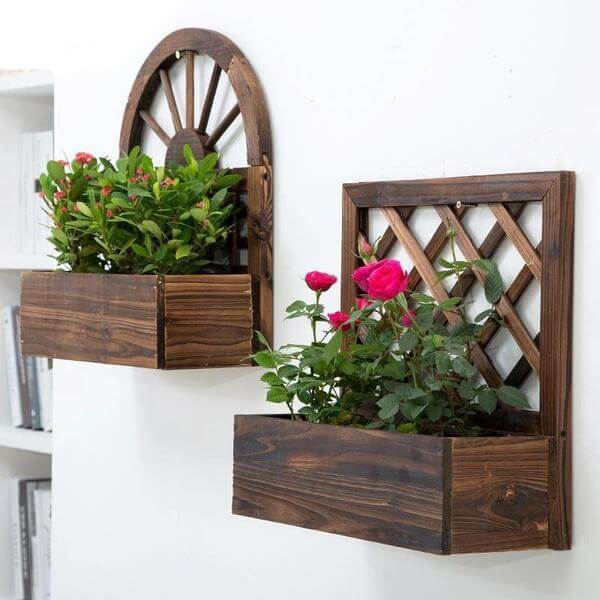 Vintage Wooden Outdoor Farmhouse Wall Planter - Atcreative