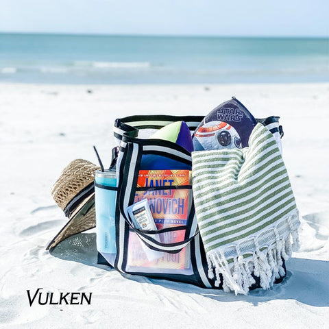 42L Extra Large Mesh Beach Bag. Multipurpose Zip Tote Bag Swim Bag Gym Bag - VulkenSports