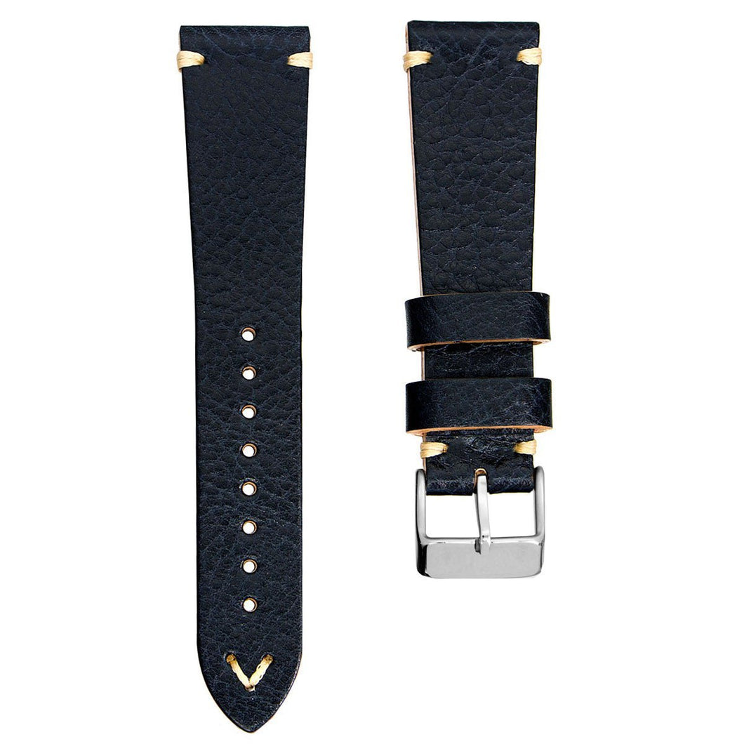 Geckota Simple Handmade Italian Leather Strap / Tumman sininen