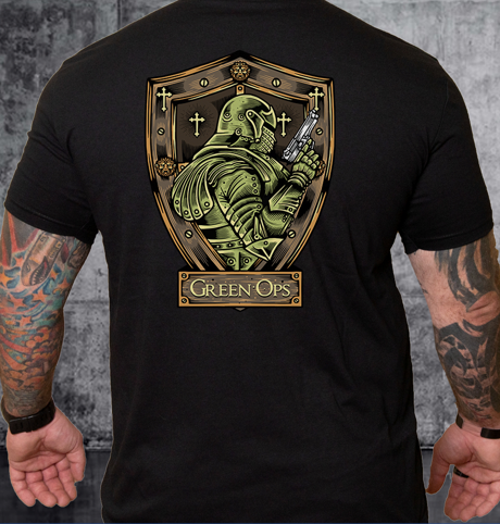 T-shirt Green Ops Knight with Pistol Black
