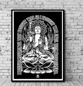 Art War Buddha I Brought Peace Until they Brought War Black