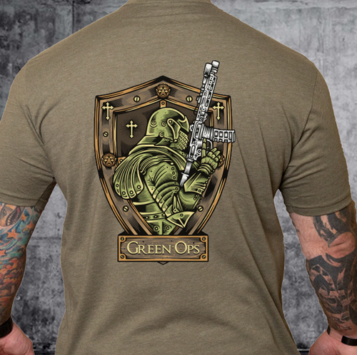 T-shirt Green Ops Knight with Rifle Olive