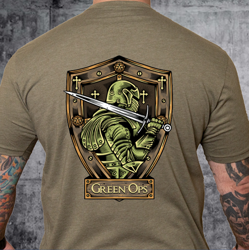 T-shirt Green Ops Knight with Sword Olive