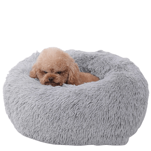 Calmado™ Calming Donut Dog Bed in Shag Fur Self-Warming Fluffy Dog Calming Cushion Bed for Joint-Relief and Improved Sleep - Paw Huggies