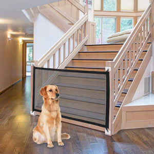 Dog Gate Safety Mesh Gate Easy to Roll and Latch for Stairways, Doorways, Hallways, Patios,Deck and Banisters - Paw Huggies