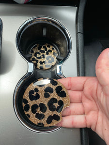 Cheetah print Car coasters