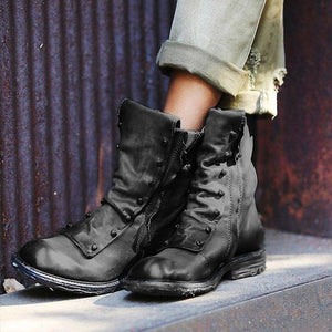 Low Heel Pu Zipper Ankle Boots Womens Comfy Round Toe Boots