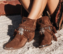 Load image into Gallery viewer, Brown Tassel Spring/fall Chunky Heel Faux Suede Boots