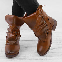 Load image into Gallery viewer, Women Vintage Mid Calf Booties Casual Plus Size Shoes