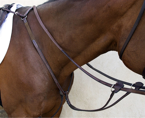 Nunn Finer Bellissimo Hunt Breastplate with Elastic Havana - Vision Saddlery