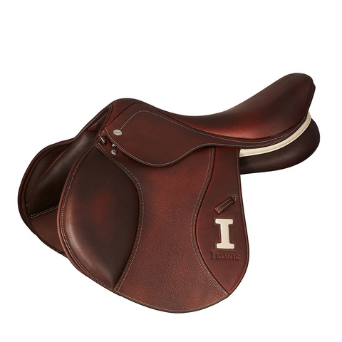 "IKONIC JUMP SADDLE ""ELITE"" HALF DEEP SEAT 17.5"" Havana - Vision Saddlery"