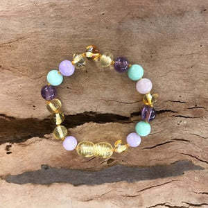 Amber Bracelet 14-15cm - Yellow, Amethyst and Pastels