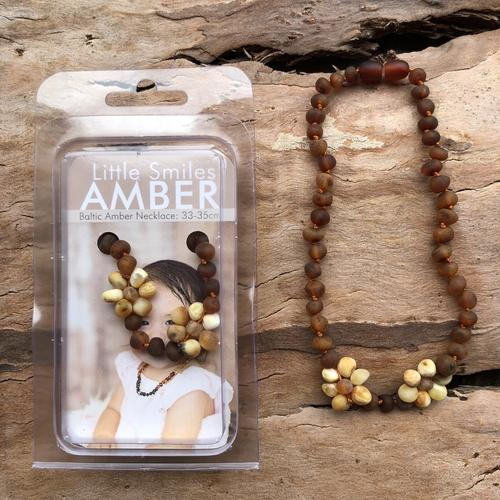 Raw Baltic Amber Necklace 33-35cm - Brown and Yellow Flowers