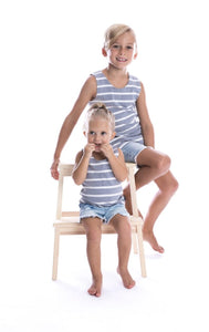 Kids/Baby Ribbed Striped Singlet - Grey Marle & White