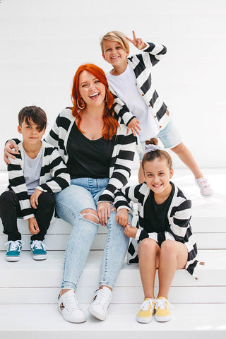 Signature Cardigan Kids/Babies - Black + White Stripe