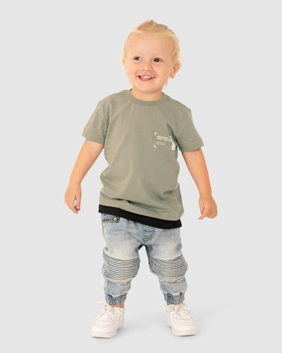 Kids Markings Tee - Dusty Olive