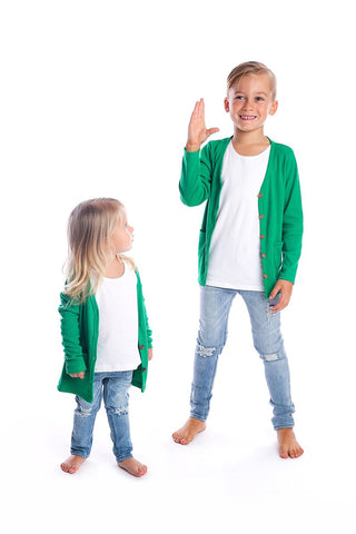 Signature Cardigan for Kids - Grass Green