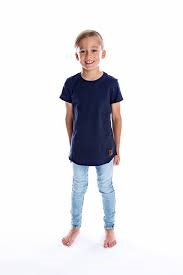 Kids Signature Raw Edge Tee - Navy