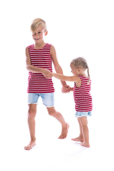 Kids/Baby Striped Singlet - Burgundy & White