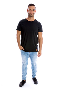Mens Signature Raw Edge Tee - Black
