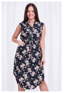 Floral Zip Dress - Navy