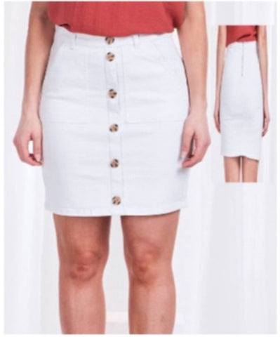 Button Skirt - White