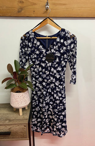 Floral Dress - White and Navy