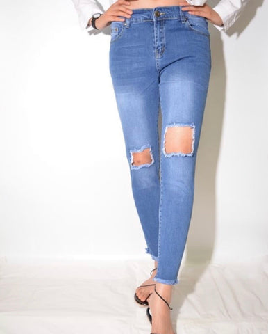 Hole Ripped Jeans - Light Denim