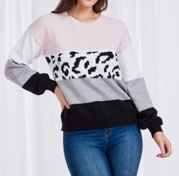 Animal Print Knit - Dusty Pink