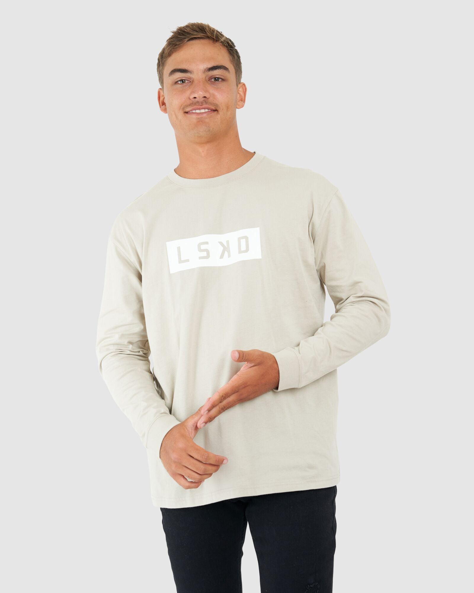 Men's Mood LS Tee Box Fit - Taupe