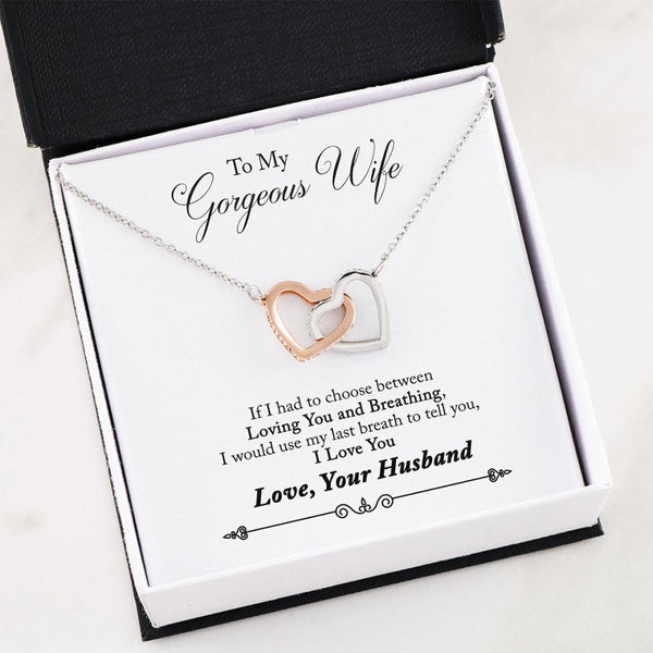 Husband to Wife Gift - Two Hearts Necklace with Poem