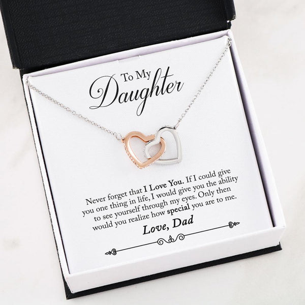Father to Daughter Gift - Two Hearts Necklace with Poem