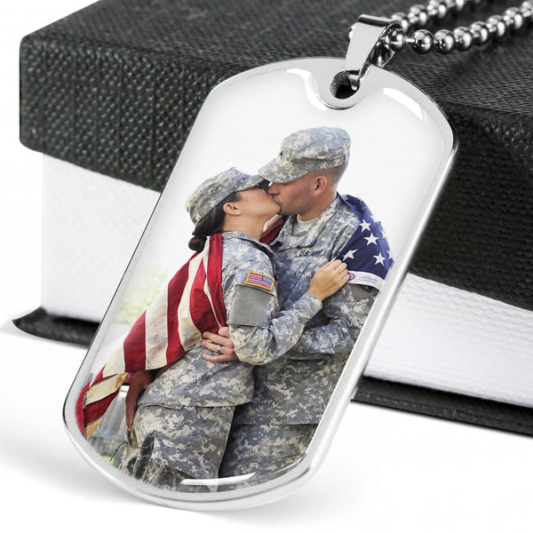 Photo Dog Tag with Custom Engraving - Valentines Gift