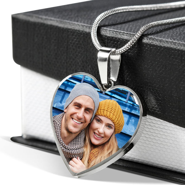 Photo Necklace with Custom Engraving - Valentines Gift