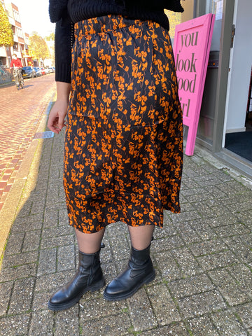 Natalie Skirt Black/Orange Flower