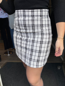 Alicia Skirt White/Black Check