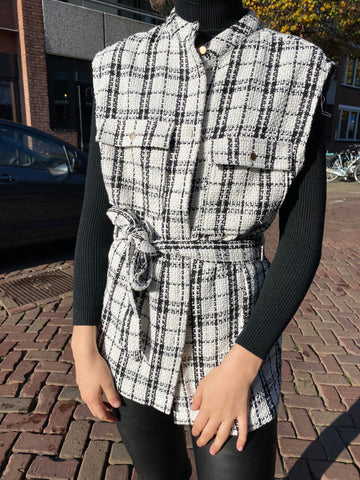 Alicia Gilet White/Black Check