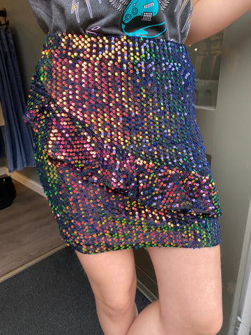 Colourful Rebel Macy Sequins Ruffle Mini Skirt