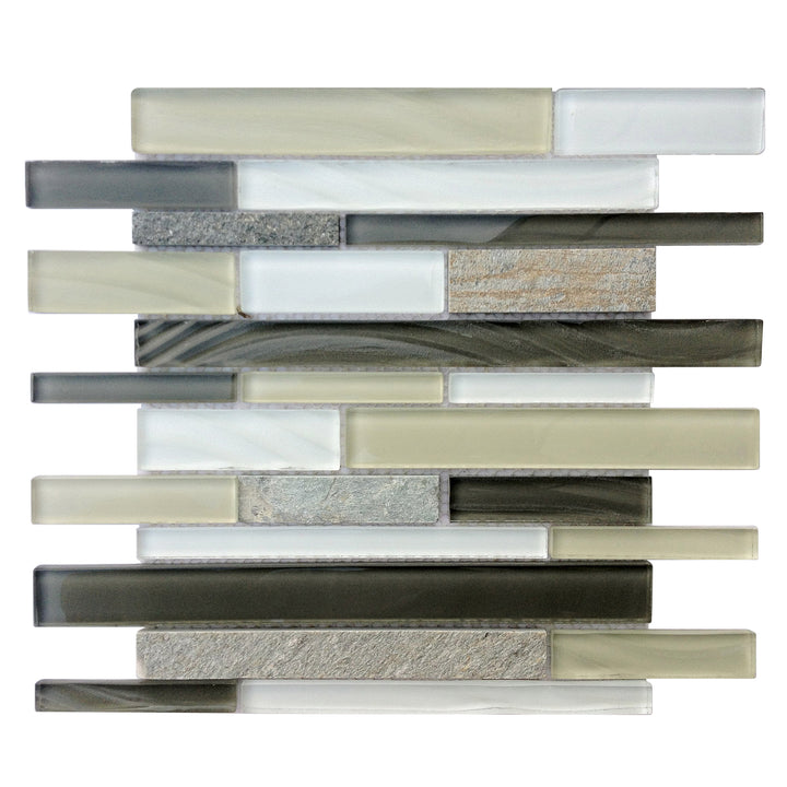 Stone & Glass Mixed Color Random Strip Mosaic