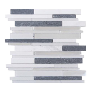 Iron Staircase Marble Slate & Glass Random Strips