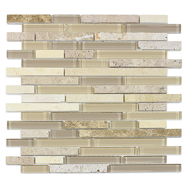 Sandy Dune Marble & Glass Random Strip Mosaic
