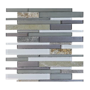 Modesto Quartzet & Glass Mix Random Strip Mosaic