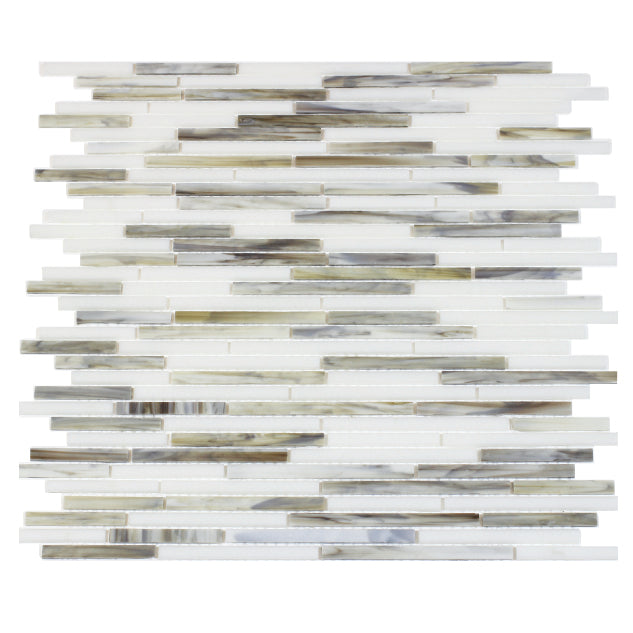 Silver Weave Random Strip Glass Mix Mosaic