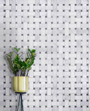 Oriental White + Gray Lady Polished Basketweave Mosaic