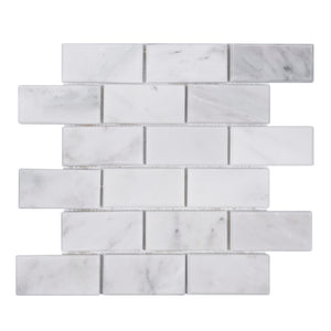 2x4 Bevel Brick Oriental White Polished Marble Mosaic