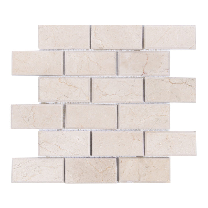 2x4 Cream Marfil Polished Bevel Brick Mosaic